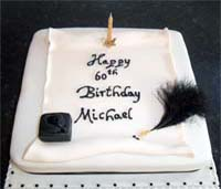 Inkwell and Scroll Birthday Cake